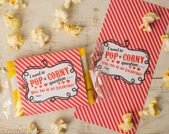 Printable popcorn valentine non candy valentines Classroom valentines DIY print Pop corn bags wrap easy valentine's day gift for kids