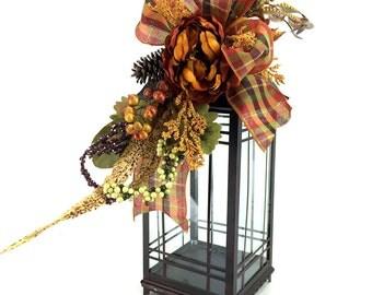Orange Fall Lantern Swag, Autumn Lantern Swag, Autumn Decor, Fall Lantern Flowers, Fall Decorations for Home, Lantern Centerpieces