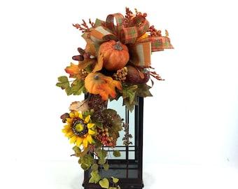 Fall Lantern Swag, Fall Lantern Flowers, Fall Lantern Floral Arrangement, Fall Mantle Decor, Fall Table Decor, Autumn Mantle