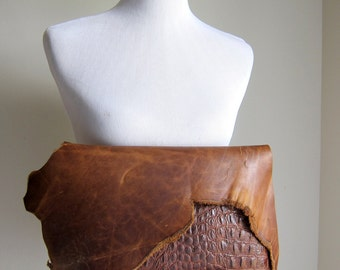 RESERVED ITEM - LEATHER Large Oversized Huge Clutch Bag Purse Shoulder Strap Cross Body - Raw & Rustic with Raw Edge - Textured Decorative L