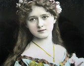 RESERVED for Robyn - Antique Art Nouveau girl photo postcard, Antique flower girl photo postcard - please do not buy unless you're ROBYN