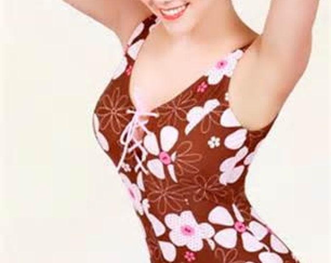 Bettie Page Hawiian Bathing Suit, Hawaiian Style, One Piece, Vintage Style, Pin Up Swimwear, Kawaii, 50s Swimwear, 50s Bathing Suit,