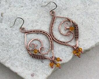 Dark Yellow Copper Chandelier Earrings, Wire Wrapped, Boho, Canada, Handmade, Oxidized Copper, STERLING SILVER EARWIRES