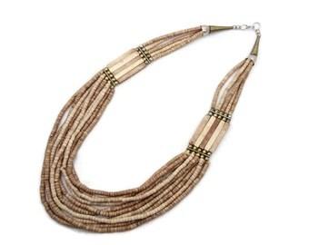 Stone Necklace, Boho Statement, Beaded Necklace, Vintage Multi-Strand, Neutral Natural, Oversized, Bohemian Gypsy, Large Long, Ethnic Tribal
