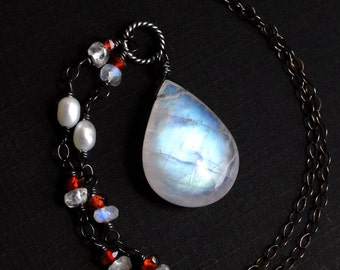 Moonstone Necklace, Rainbow Moonstone Necklace, Garnet, Oxidized Sterling Silver - Red Queen by CircesHouse on Etsy