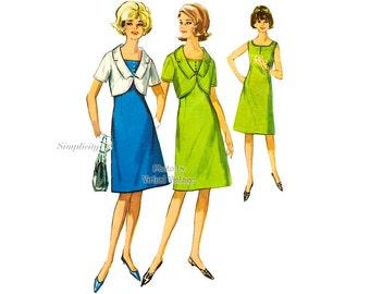 1960s Sleeveless A Line Dress & Bolero Jacket Pattern Simplicity 5916 Uncut Vintage Sewing Patterns