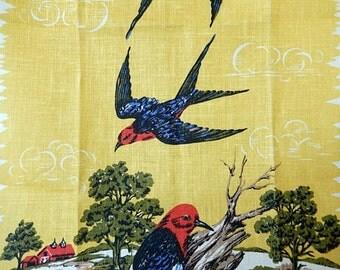 vintage tea towel, birds, kitchen towel, Parisian Prints, old new stock, unused, swallows, woodpeckers, bird watchers, linen