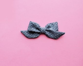 Sophie Hand-tied Polka Dot Chambray Simple Classic Fabric Bow Nylon Elastic or Alligator Clip