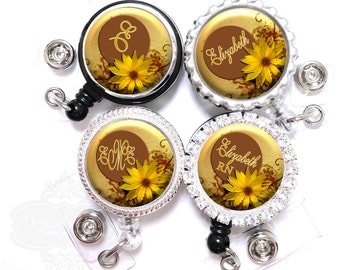 Flower Badge Holder - Personalized Gold and Bronze Sunflower Retractable Lanyard ID Reel with Name, Monogram, Occupation Title (A086)