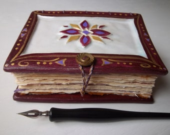 Mandala Journal with Ceramic covers, Arches Cover paper, Double-Coptic Stitch, antique metal button