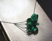 "Fibrous Malachite ""web"" necklace…natural malachite, sterling silver"
