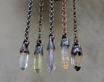 Pendulum, Necklace, or Single Long Dangle Earrings, Tibetan Quartz, Yellow Apatite, Vera Cruz Amethyst, Lemurian Golden Healer, Citrine