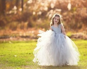 READY to SHIP - Size 3 - Full length - The Juliet Dress in Silver Grey - Flower Girl Tutu Dress