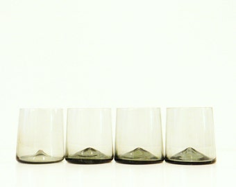 Smoky Vintage Lowball Glasses / Retro Vintage Barware / Set of 4 Vintage Cocktail Glasses