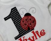 Birthday Shirt, ladybug birthday, personalized shirt, birthday  embroidered shirt