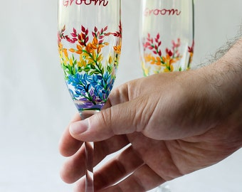 Wedding Flutes, Groom Groom, LGBT, Champagne Flutes, rainbow inspired, set of two toasting flutes