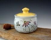 Honey Pot with Bees and Hearts - Pottery Honey Jar - by DirtKicker Pottery
