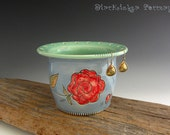 Pottery Earring Bowl in Glossy Blue with Red Rose - by DirtKicker Pottery
