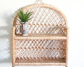 Vintage Wicker Wall Shelf / Boho Home Decor
