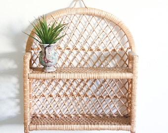 Vintage Wicker Wall Shelf / Boho Home Decor