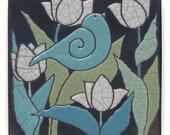 Ceramic tile, Bird, white flowers,handmade, 6x6 inch, raku fired art tile, wall art