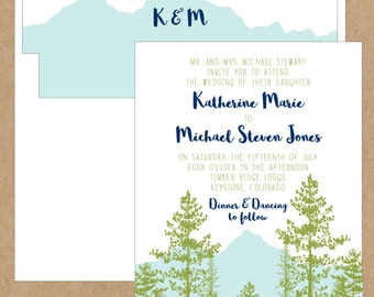 Mountain View Wedding Invitation - Collection options available