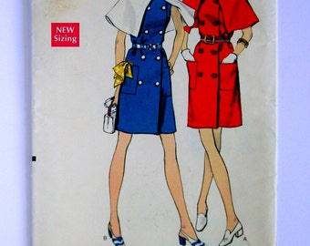 Misses' Sleeveless Dress with Capelet - Vogue 7705 - 1960's Vintage Pattern, Size 14