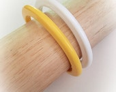 Vintage Yellow and White Spacer Bracelet Bangles Set of 2
