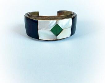 Vintage Brass and Shell Cuff Bracelet