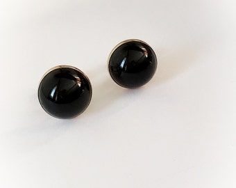 Vintage Swank Cuff Links Black Dome Plastic and Gold Tone Metal