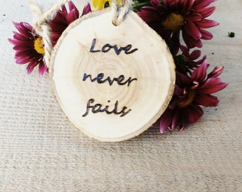 Set of Twelve Rustic Wedding Decor, Tree Slice Aisle Decor, Love is Patient Corinthians Verses