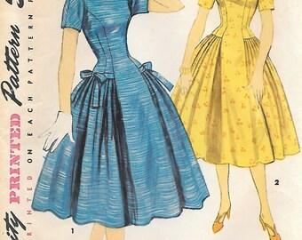 Simplicity 1413 Misses Princess Seams Hip Pleats Dress Vintage Sewing Pattern Size 16 Bust 34 Detachable Collar