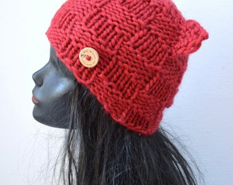 Red Cat Beanie - Chunky Wool - Winter Fashion Accessory - Small Size