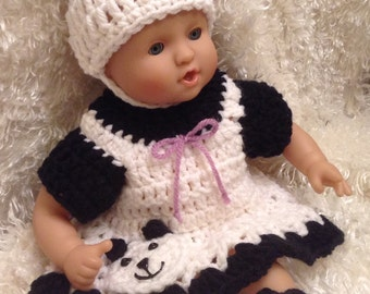 Clothes for 12 And 15 inch soft bodied Dolls. Panda Bear Dress Set