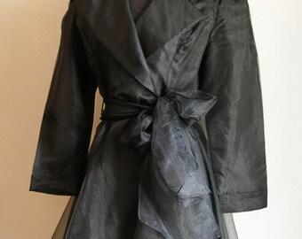 Vintage Black Wrap Long Sleeve Party Dress with Sash Belt by De Laru Joseph Lara