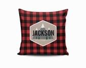 Buffalo Plaid Pillow Cover, Plaid Pillow, Throw Pillow Cover, Woodland Throw Pillow, Lumberjack Nursery Pillow, Woodland Nursery, Plaid