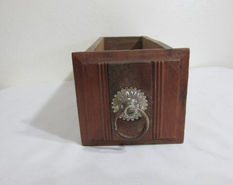 Sewing Machine Drawer Antique Wood with Metal Ring Pull