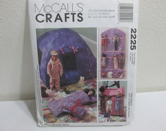 Pattern Barbie Doll Tent Sleeping Bag and Tote McCalls 2225