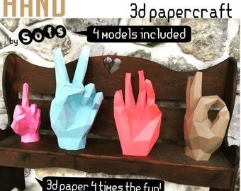 Hand collection pack 3d papercraft. You get 4 PDF digital file with templates and instructions for 4 models do it yourself paper models.