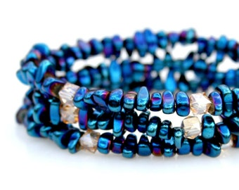 Blue Hematite Bracelets Set of Three Stack Midnight Bracelets Rocker Style Bracelets Modern Flare Pebble Stone Bracelets Arm Candy Mei Faith