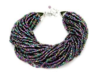 Multi Strand STATEMENT Beaded Bracelet Hematite Rainbow Shimmer Beads Exotic Goddess High Fashion Jewelry Adjustable Size by Mei Faith