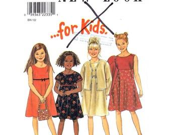 Girls Dress & Jacket Pattern New Look 6823 Sleeveless Empire Dress Open Jacket Girls Sewing Pattern Size 3 to 8 UNCUT