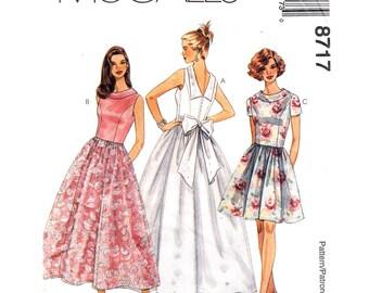 Evening Dress Pattern McCalls 8717 Cocktail Dress Evening Gown Low Back Full Skirt Maxi Dress Womens Sewing Pattern Size 10 12 14 UNCUT