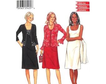 Open Jacket & Sleeveless Dress Pattern New Look 6152 Scoop Neck Ruffle Hem Womens Sewing Pattern Size 8 to 18 UNCUT