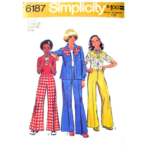 Girls Retro Shirt, Flared Pants Sewing Pattern Simplicity 6187 Size 7 or 14 Vintage