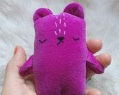 Miniature teddy bear, velveteen stuffed toy bear, bear plushie, handmade pocket bear, mini bear stuffie, bear soft toy, tiny bear