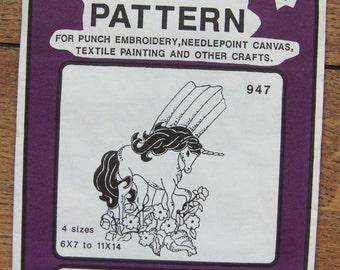 Vintage 80s Embroidery transfers 947 UNICORN 4 sizes  uncut