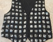 Sequin Vest - Silver Black Sparkly Vest by Sweet Sue - Shine - Sparkle - Glam - Holiday Party - Club Top - Plus Size Vintage - 46 Bust