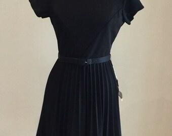 1960s Little Black Dress - Pleated Skirt - Black Dress Gold Embellishment - Semi Formal Flirty Dress - Modest Traditional Classic - 38 Bust