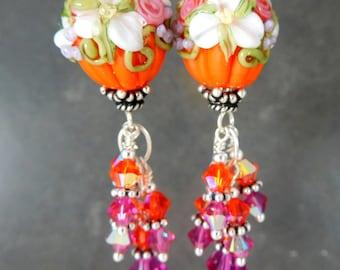 Floral Pumpkin & Crystal Dangle Earrings, Fall Earrings, Halloween Earrings, Orange Pink White Lampwork Glass Earrings Thanksgiving Autumn